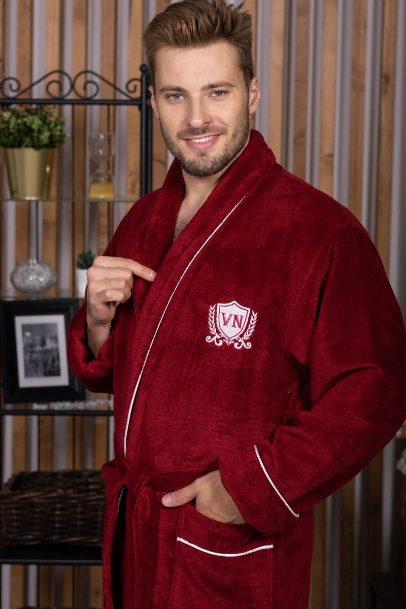 MARSHAL (bordo) мужской велюровый халат