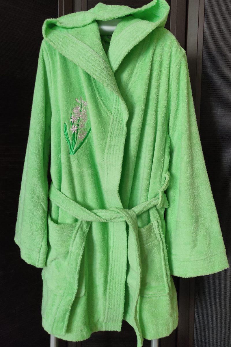 TRIO (зеленый) женский махровый халат