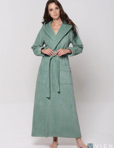 Длинный Женский махровый халат LADY (pistachio)