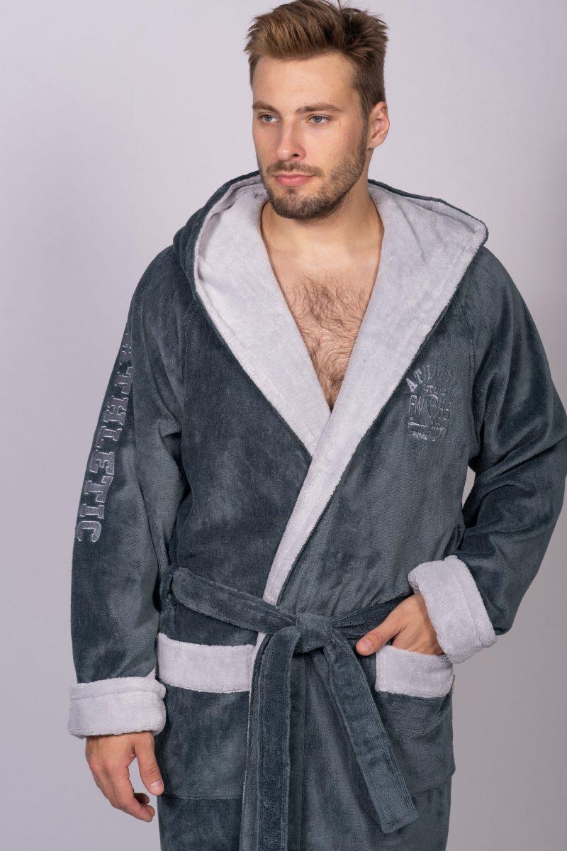 Халат ATHLETIC (серый1) спортивный мужской махровый халат с капюшоном